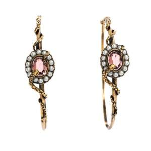 Alexander McQueen Crystal Faux Pearl Snake Gold Tone Hoop Earrings
