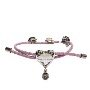Alexander McQueen Heart Charm Friendship Crystal Lavender Braided Leather Adjustable Bracelet