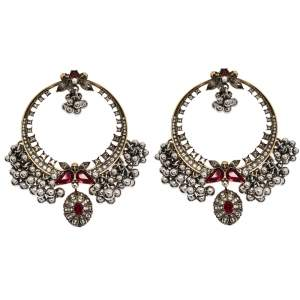 Alexander McQueen Creole Crystal Embellished Metallic Sphere Hoop Earrings
