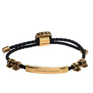 Alexander McQueen Crystal Skull Gold Tone Leather Adjustable Bracelet