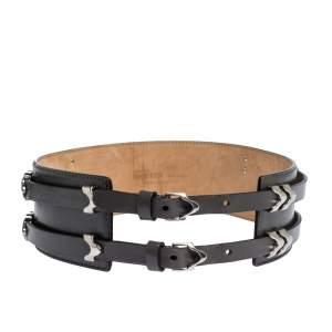 Alexander McQueen Grey Metal Detail Leather Double Buckle Waist Belt 75CM