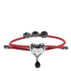 Alexander McQueen Crystal Heart Charm Braided Leather Adjustable Friendship Bracelet
