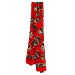 Alexander McQueen Red Skull Print Silk Chiffon Scarf