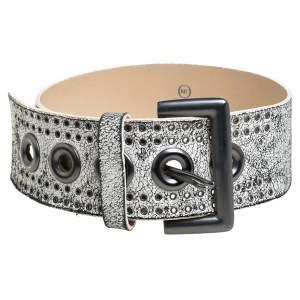 Alexander McQueen White/Black Textured Leather Wide Belt Size 75 CM