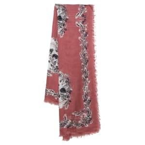 Alexander McQueen Berry Pink Skeleton Print Modal Silk Scarf