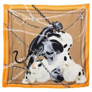 Alexander McQueen Orange Panther Skull Print Silk Scarf