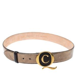 Alexander McQueen Metallic Bronze Leather Logo Buckle Belt Size 90 CM