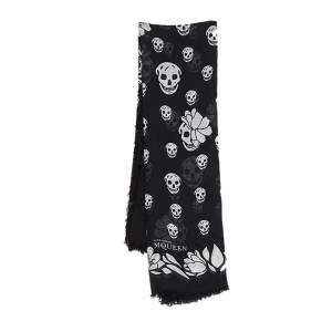 Alexander McQueen Black Floral Skull Modal Scarf