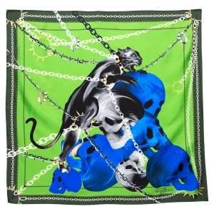 Alexander McQueen Green Panther Skull Print Silk Scarf
