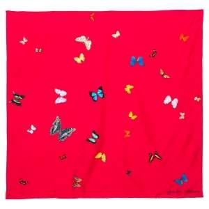 Alexander McQueen X Damien Hirst Pink Butterfly Print Silk Scarf