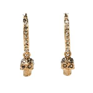 Alexander McQueen Skull Motif Crystal Embellished Gold Tone Drop Earrings