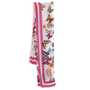 Alexander McQueen Pink Butterfly Print Modal Square Scarf