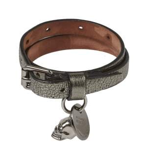 Alexander McQueen Silver Leather Double Wrap Skull Charm Bracelet