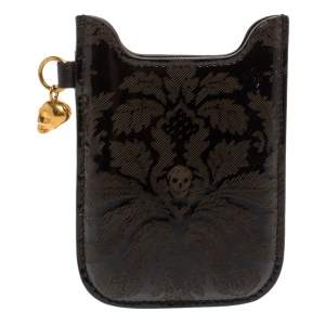 Alexander McQueen Black Patent Leather Skull Charm Phone Case