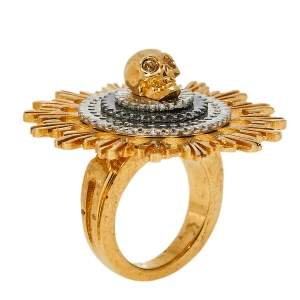 Alexander McQueen Two Tone Skull Flower Cocktail Ring Size 13