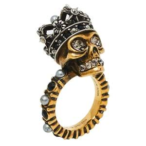 Alexander McQueen Queen Skull Two Tone Cocktail Ring Size IT 11