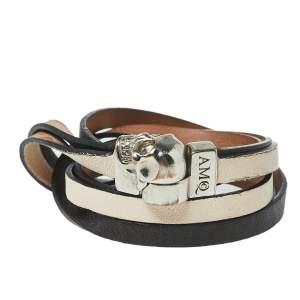 Alexander McQueen Bicolor Layered Leather Double Wrap Skull Bracelet