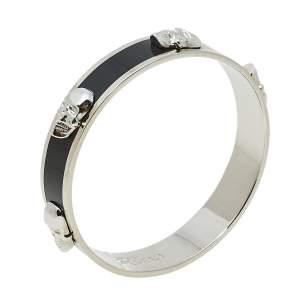 Alexander McQueen 3D Skull Black Enamel Silver Tone Bangle Bracelet