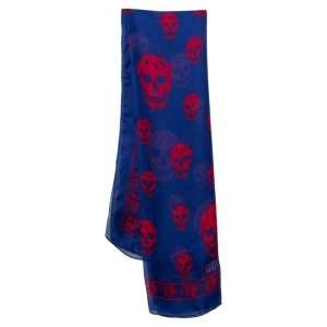 Alexander McQueen Blue Skull Print Silk Chiffon Scarf