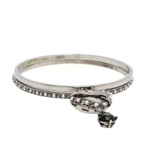 Alexander McQueen Antique Silver Tone Heart Locket Charm Layered Bangle Bracelet
