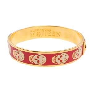 Alexander McQueen Red Enamel Skull Bangle Bracelet