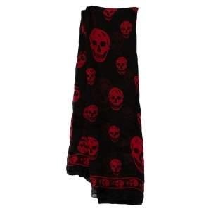 Alexander McQueen Black & Red Skull Print Silk Chiffon Scarf