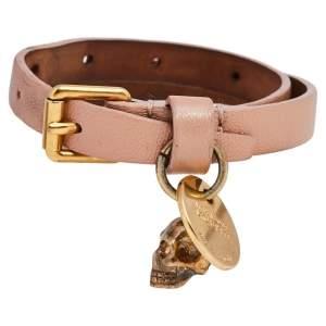 Alexander McQueen Skull Charm Pink Leather Gold Tone Double Wrap Bracelet