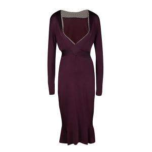Alexander McQueen Burgundy Rib Knit Dotted Trim Long Sleeve Dress L