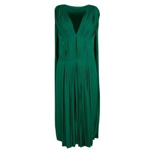 Alexander McQueen Emerald Green Knit Pleated Sleeveless Midi Dress M
