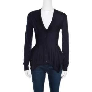 Alexander McQueen Navy Blue Wool Asymmetric Cardigan S