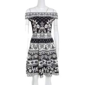 Alexander McQueen Monochrome Floral Jacquard Knit Off Shoulder Dress M