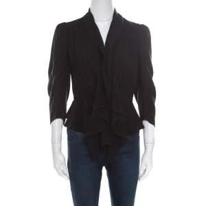 Alexander McQueen Black Faux Layered Drape Detail Cropped Blazer S