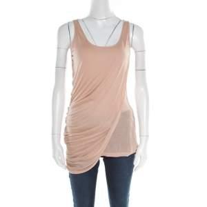 Alexander McQueen Peach Modal Jersey Layered Asymmetric Sleeveless Top M