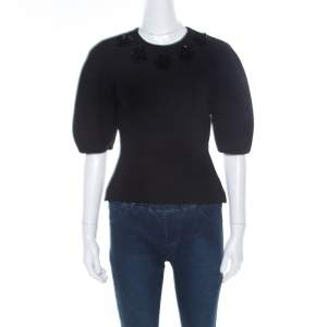 Alexander McQueen Black Floral Embellished Wool Top S