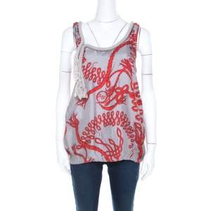 McQ by Alexander McQueen Grey and Red Rope Print and Applique Silk Tank Top M