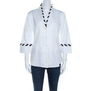 Alexander McQueen White Cotton Striped Piping Detailed Shirt M