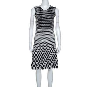 Alexander McQueen Monochrome Honeycomb Pattern Stretch Knit Dress L