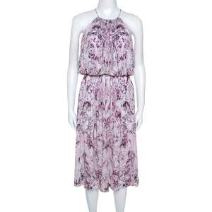 Alexander McQueen Lavender Marble Printed Ruched Halter Neck Dress S