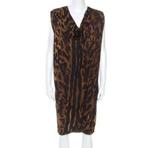 Alexander McQueen Brown Ocelot Print Chiffon Midi Dress S