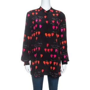 Alexander McQueen Black Printed Silk Front Button Shirt M