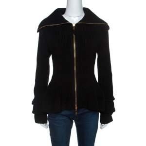 Alexander McQueen Black Wool Sculpt Rib Knit Peplum Cardigan S