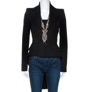 Alexander McQueen Black Wool Embellished Tail Blazer S