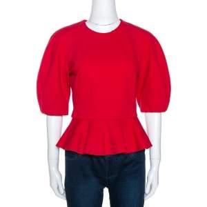 Alexander McQueen Red Raglan Sleeve Peplum Top S