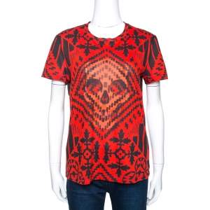 Alexander McQueen Red & Black Skull Print Cotton T-Shirt S