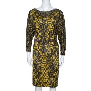 Alexander McQueen Yellow Honeycomb Print Silk Jersey Shift Dress M