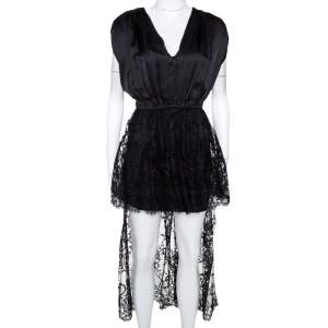 Alexander McQueen Black Silk Lace Trim Asymmetrical Top M
