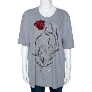 Alexander McQueen Grey Cotton Floral Sequin Embellished T Shirt M