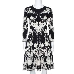 Alexander McQueen Monochrome Floral Jacquard Knit Skater Dress M