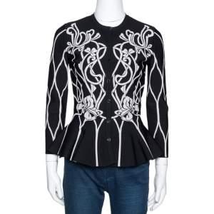 Alexander McQueen Black Jacquard Knit Peplum Cardigan M
