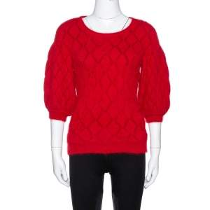 Alexander McQueen Red Angora Knit Balloon Sleeve Jumper M